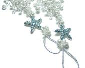 Starfish beach wedding barefoot sandals - Something Blue - Beach wedding bridal accessories