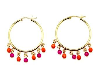 Pink Gold Hoop Earrings, Pink Orange Earrings, Orange and Pink Earrings, Hot Pink Hoop Earrings, Hot Pink Hoops, Large Hoops, Orange Hoops