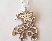Mama Bear Embossed Sterling Silver Mothers Necklace