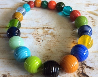 Lampwork Beads Ribbed Rounds Fiesta Color Mix for Summer