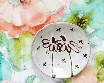 Sweet ceramic spoon rest - pretty pottery dish with pink flowers - handmade illustrated ring dish spoon rest jewelry bowl - pink white black