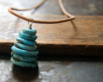 Turquoise Cairn Necklace - Mexican Turquoise Necklace - Turquoise Necklace - Cairn Jewelry - Gemstone Necklace - December birthstone