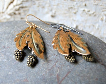 Pine Cone and Leaf Earrings - antiqued brass pine cone and gold leaf earrings - Woodland Fashion - Autumn Fashion