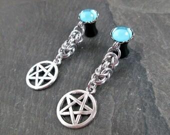 Dangle Plugs - 10g - 8g - 6g - 4g - 2g - 0g - Pentacle Gauges - Pagan Jewelry - Pentacle Plugs - Dangle Gauges - Plug Earrings
