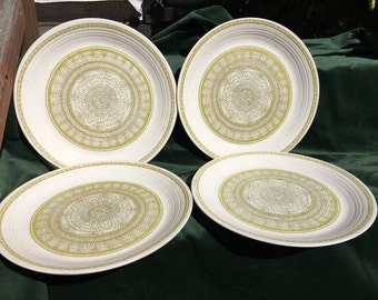 Franciscan Earthenware Dinner Plates Hacienda Serving Plates Color Fast Oven Safe Made in USA Speckle Pottery Plate Set of 4 Green Black
