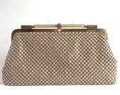 Vintage Beige Metal Mesh Bag, Shoulder Strap Convertible Clutch, Gold Spring Handle and Frame, Soft Chic Neutral, Matching Beige Chain