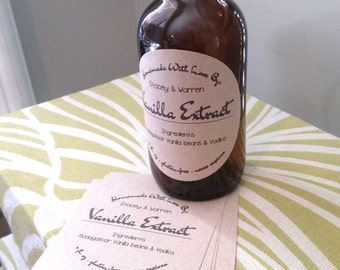 Homemade Vanilla Extract Labels Bottles Circle Craft Food Stickers Personalized  And Custom Labels