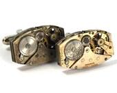 Steampunk Cufflinks Vintage Watch Movements Rectangular Cuff Links by Nouveau Motley Rectangles