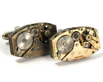 Steampunk Cufflinks Vintage Watch Movements Rectangular Cuff Links by Nouveau Motley Rectangles