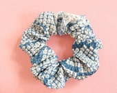 Japanese kimono fabric scrunchie Blue