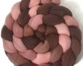 Handpainted Targhee Wool Roving - 4 oz. ROSEWOOD- Spinning Fiber