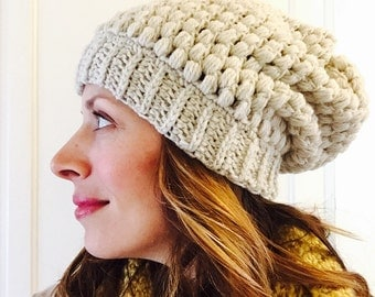 Slouchy hat in ecru puff stitch crochet wool acrylic