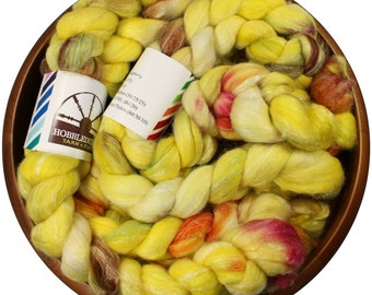Preserved Lemons - hand-dyed Merino wool / bamboo / silk (4 oz.) combed top roving