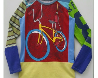 Size 8 (52 3/4 inch) Upcycled Boys long sleeve tee shirt chopper bike