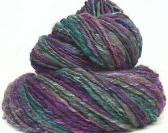 Handspun yarn  handdyed BFL wool  silk