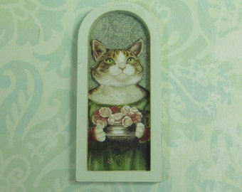 Dollhouse Miniature Framed Cat with Roses Art Print