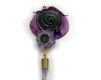 Amethyst stalactite crystal    Pin / Pendant on  in Sterling Silver  by Cathleen McLain