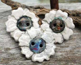 Handmade RAKU White Button Set of 3