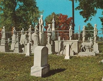 Vintage 1950s Postcard Mayfield Kentucky Wooldridge Monument Maplewood Cemetery Grave Statue Historic Photochrome Era Postally Unused