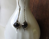 Black obsidian and sterling silver drop earrings