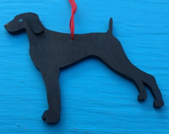 BLUE Weimaraner Dog - Handpainted Wood Ornament HoliDOG Decoration