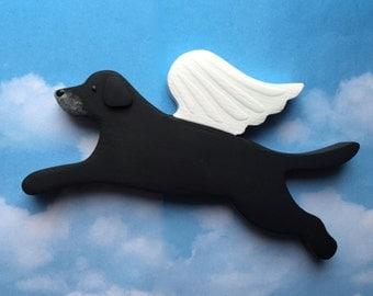 Older Black Lab Retriever Angel Dog Rustic Wood Decoration