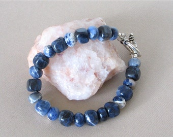 """Chunky Blue Sodalite Bracelet With Sterling Silver Toggle Clasp - Southwest Style Jewelry - 8"""" Length, 7"""" Inside Circumference"""