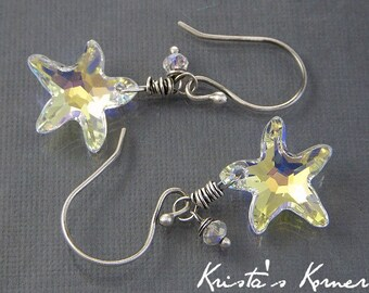 Sterling Silver and Swarovski Crystal Starfish Dangle Earrings