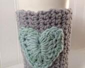 Gray and Seafoam Coffee Cup Cozy, Sleeve, Crochet Tea, Latte Cozie
