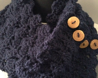 Navy Blue Infinity Scarf Chunky Wool Neck Warmer Reclaimed Wood Buttons