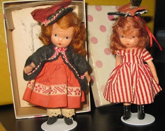 Vintage Doll, two dolls, One Two Button My Shoe 1 2 3 Storybook Dolls by Nancy Ann Wee Dolls for Wee Collectors