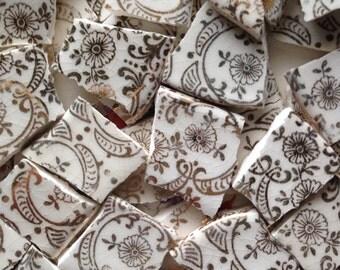 Vintage Gold Overlay Floral Filligree Broken China Mosaic Tile