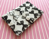 Black Lolita Bows - Pocket Pouch - Wallet - Business Card Holder / ID Case / Photo Holder