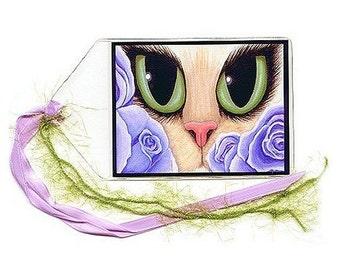 SALE Big Eye Cat Bookmark Lavender Roses Bookmarker Valentine Cat Green Eyes Fantasy Cat Art Mini Bookmark Gift For Cat Lover