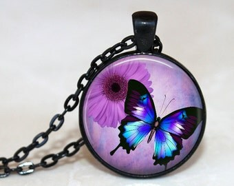 Pretty Purple Butterfly Pendant,  Necklace or Key Chain in your choice of color.  1 Inch round