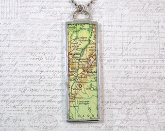 Colombia Map Pendant Necklace