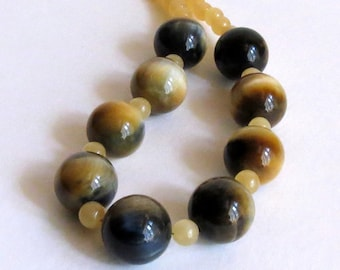 Necklace with Tiger Eye Stones, Yellow Jade and Sterling Silver Clasp, Statteam