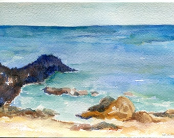 Aruba watercolor painting original, ocean art, beach painting 5 x 7, Aruba beach art, seascape watercolor, SharonFosterArt