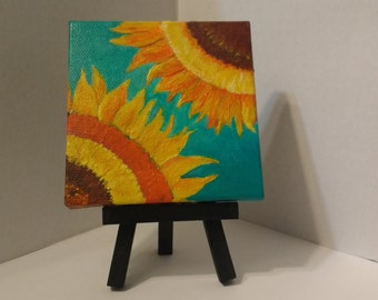 Gerbera daisy painting mini canvas easel blue by for Small canvas boards