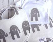 Baby Bib, Burp Cloth & Onesie Bodysuit Gift Set  - Gender Neutral for Baby Boy or Baby Girl  - Chenille Triple Layer Design - GRAY ELEPHANT