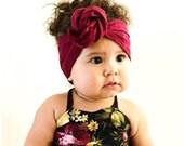 Headwrap, Girls Headwrap, Baby Girl Headwrap, Head Wrap, Girls Headband, Big Bow Headwrap, Solid Wine, Burgundy, Maroon  - SOLID CRANBERRY