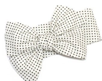 Head Wrap, Girls Headwrap, Baby Girls Headwrap, Headwrap, Girls Headband, Big Bow Headwrap, polka dots, black, cream - MARILYN BLACK PINDOTS