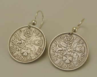 British Coin Earrings Six Pence