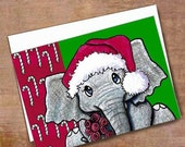 Santa Elephant Christmas Card