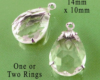 Clear Glass Beads, Silver Settings, Pear Teardrop, Rhinestone Jewels, 14mm x 10mm, One or Two Rings, Glass Gems, Wedding Jewels, One Pair