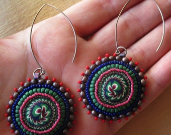 Jewel Toned Bead Embroidered and Polymer Clay Earrings