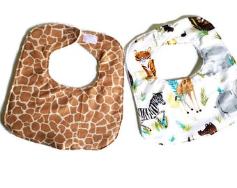 Baby Bib Set, Baby Boy Bib, Adventures in the Wild Bibs, Handmade Baby Bibs Set of 2, Animal Print Bib, 144 Collection
