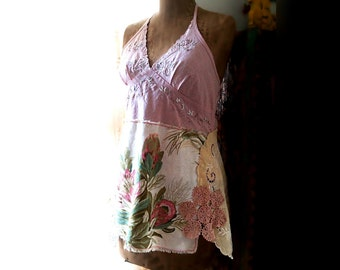 Pink Floral Top, Long Top, Halter Neck, Chinoiserie, Rustic, Chic, Pretty, Boho, Vintage Doily, Mini Dress