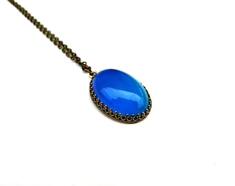 Modern Mood Pendant - Bronze and Color Changing Stone - Oval