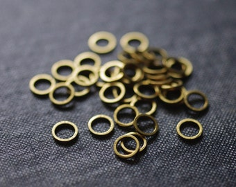 Simple Circles 6mm - Raw Brass - 48pcs - Raw Brass Circle Connectors, Circle Links, Circle Rings, Circle Charm